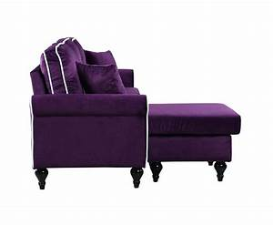 Traditional small space velvet sectional sofa with for Purple sectional sofa chaise