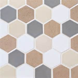 light grey fuji brown grey spice and deco white honeycomb tile contemporary wall and floor
