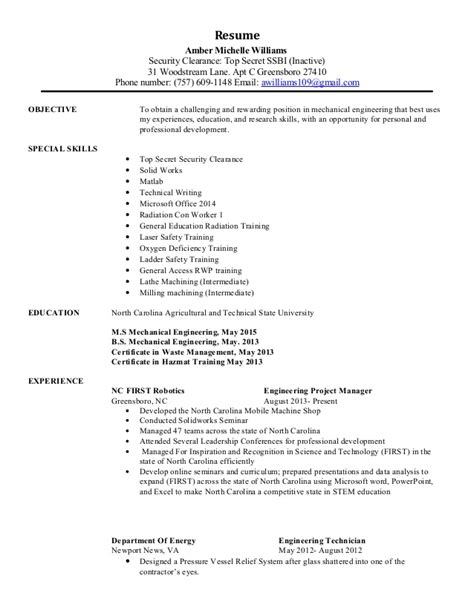 security clearance resume example williams amber portfolio