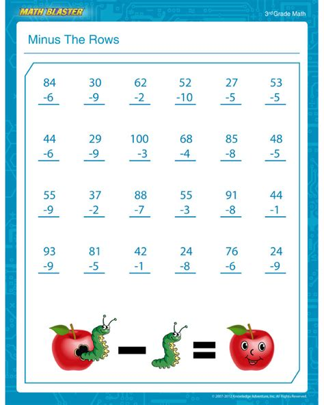 Minus The Rows  Free Subtraction Pdf For 3rd Grade  Math Blaster
