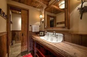 meubles salle de bain et decoration dans le style rustique With meuble salle de bain bois rustique