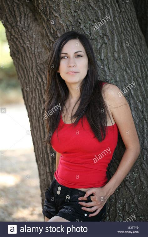 Young Latina Teen Girl Outdoor Portrait Red Top Stock