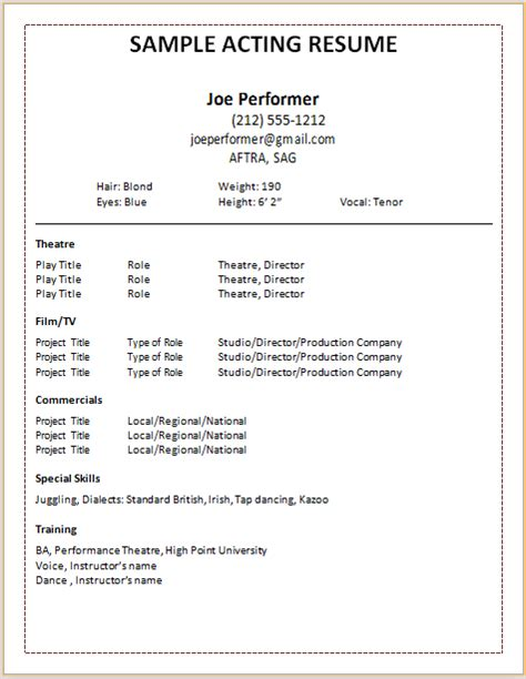 resume format for acting auditions document templates acting resume format