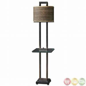 Stabina rustic bronze metal oval drum shade end table for Floor lamp behind side table
