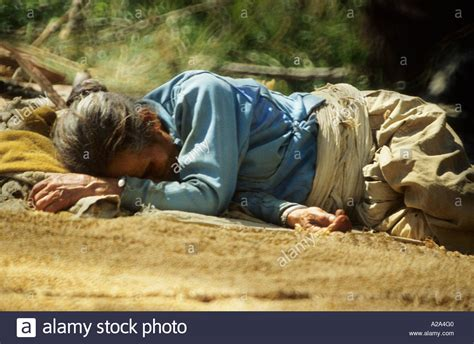 Woman Sleeping Nepal Asia Candid Unposed Winnowing Grain