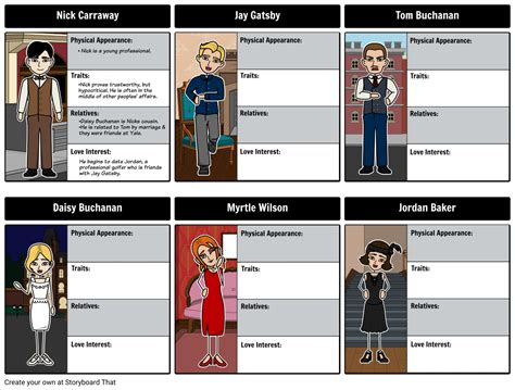 the great gatsby characters storyboard by rebeccaray