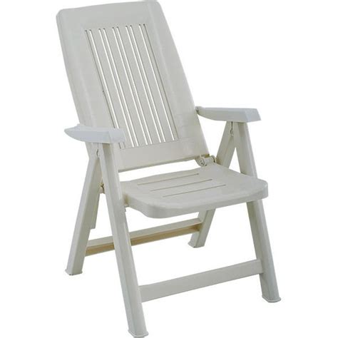 chaise pliante cuisine fauteuil de jardin blanc multipositions en résine
