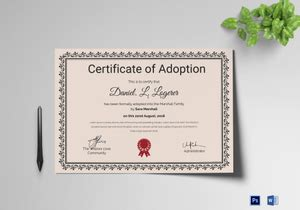 adoption certificate designs templates  word psd