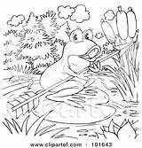 Frog Outline Coloring Arrow Holding Clipart Royalty Illustration Bannykh Alex Rf sketch template