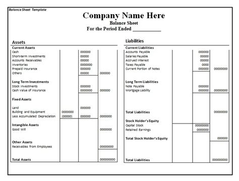 balance sheet template format excel and word excel tmp