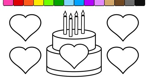 Learn Colors For Kids And Color Heart Birthday Cake