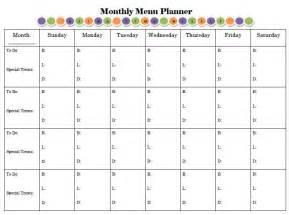 Free Printable Monthly Menu Planner Template