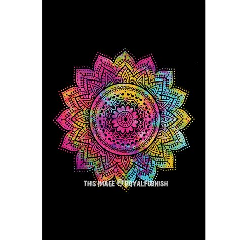 black multi twin rangoli rainbow mandala tie dye wall