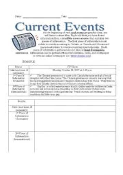English Worksheet Current Events