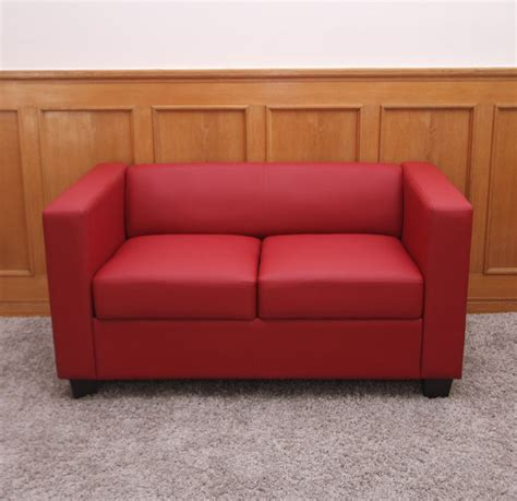 2er Sofa Couch Loungesofa Lille  Leder, Rot