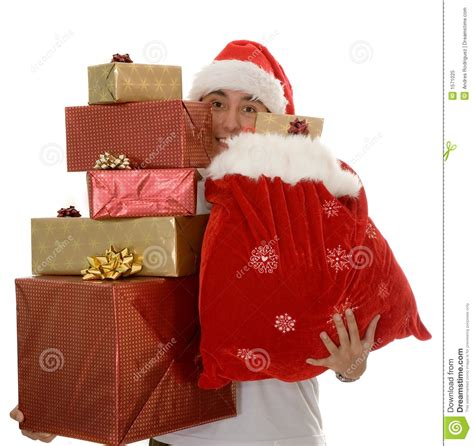 lots of christmas gifts by santa stock image image 1571025