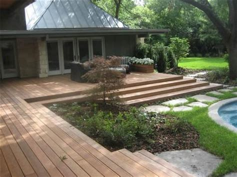 landscaping decks i am noticing a trend in deck design wide expanses of steps i like and no railings i m