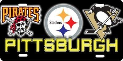 Pittsburgh Penguins Steelers License Plate Car Tag