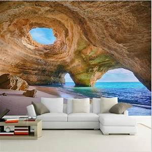 customized 3d mural beach reef cave wallpaper for living With decor mural grand format