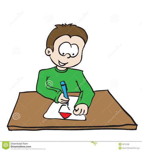 boy drawing  house stock illustration