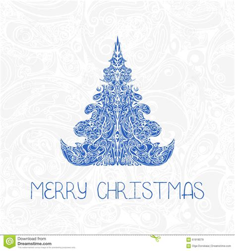 greeting decorative card with christmas tree stock vector