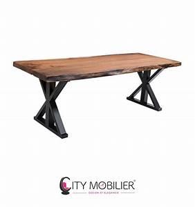 Table Bois Naturel : table industrielle en bois naturel et acier senghor ~ Teatrodelosmanantiales.com Idées de Décoration