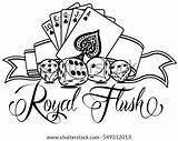 Poker Flush Royal Template Coloring Pages Vector Sketch Please sketch template