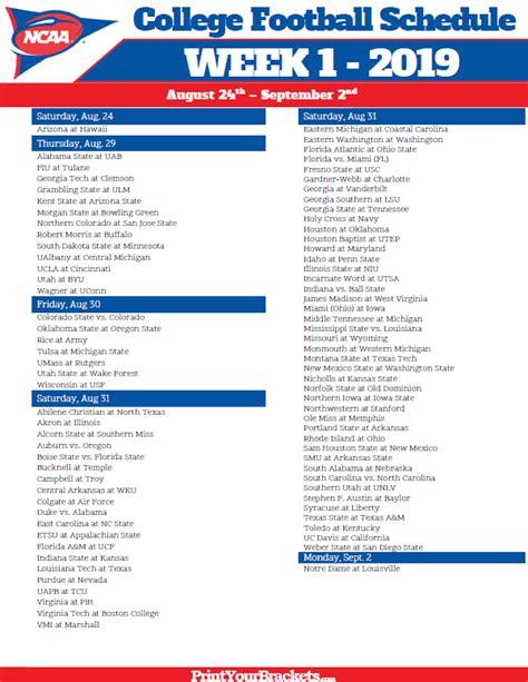 printable week  college football schedule