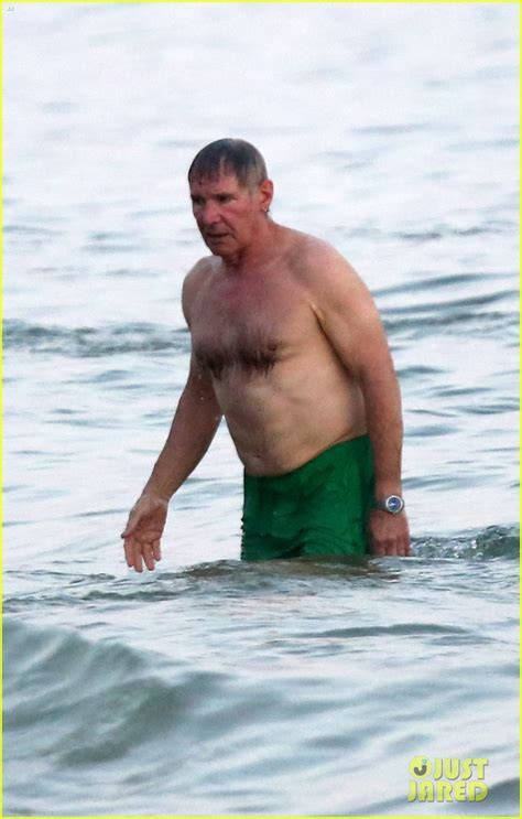 harrison shirtless ford beach body guy stud rio naked actor handsome shirt calista flockhart cat he liam