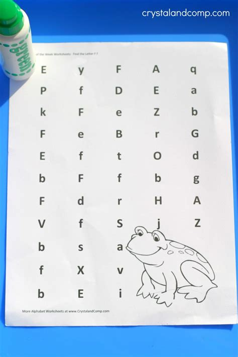preschool letter worksheets    frog