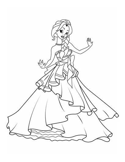 Coloring Princess Pages Dancing Cartoon Printable Princesses