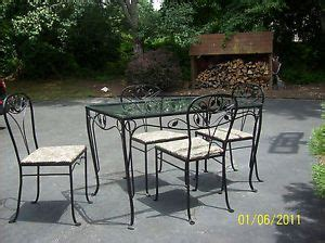 vintage wrought iron patio furniture possibly vintage 4 pc cast iron patio lawn set table chairs