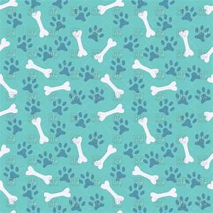 Blue seamless pattern with dog's paw print and bone Vector ...