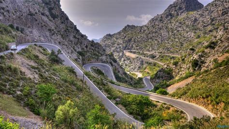 Mountains landscapes nature Spain roads curves loops