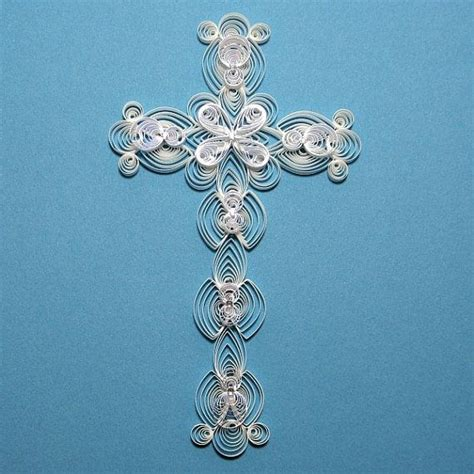 quilled paper cross paper filigree silver holofoil edge