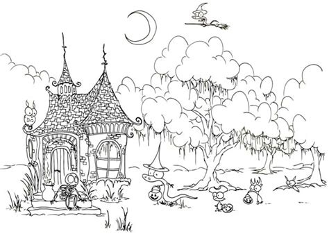 7 Best Images Of Free Printable Coloring Pages Witch House