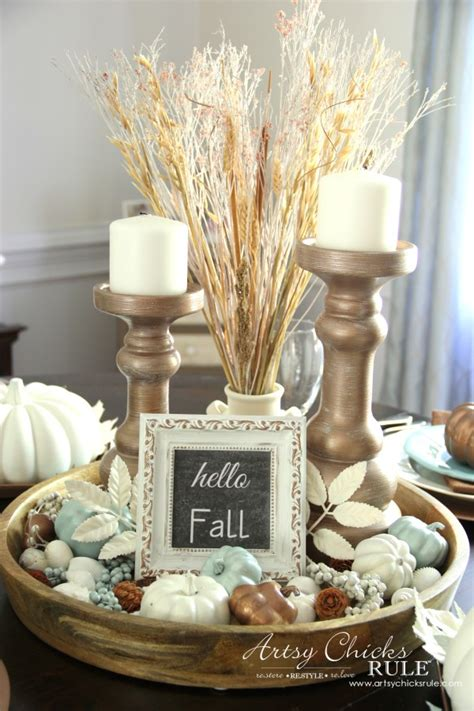 centerpiece for round dining table coastal casual fall tablescape on a budget artsy