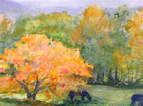 Fall Autumn Landscape Watercolor Picturesque Scene Nature ...
