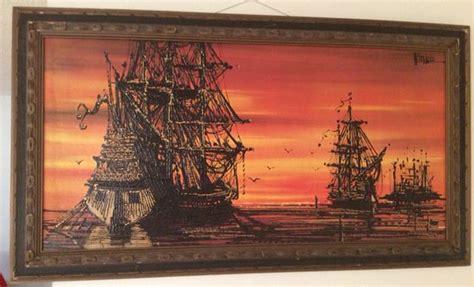 Vintage 1960s Vanguard Studios Pirate Ship Drip Art By