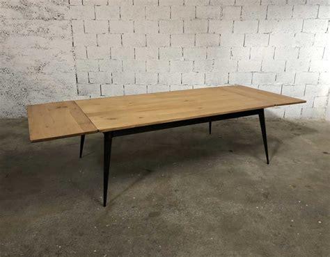table carrée a rallonge table en ch 234 ne et pied compas m 233 tal tolix revisit 233 avec