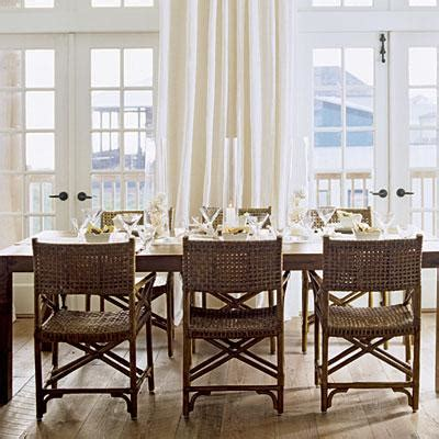beachy kitchen table rattan dining chairs cottage dining room coastal living
