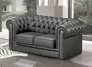 Canapé Chesterfield Gris : canape chesterfield gris maison design ~ Teatrodelosmanantiales.com Idées de Décoration