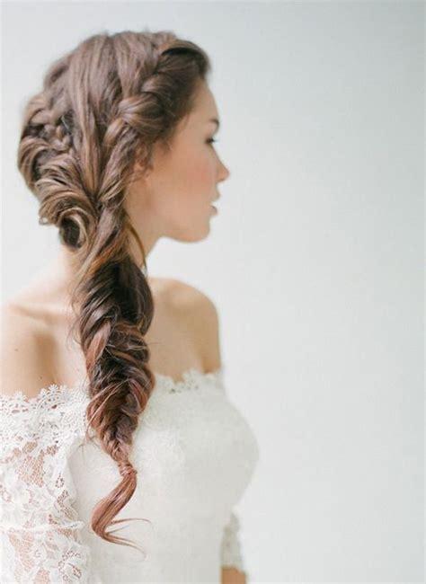 long wedding hairstyle fishtail braid
