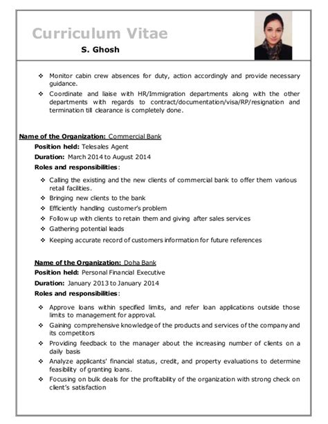 Resume For Cabin Crew by Resume Of S Ghosh