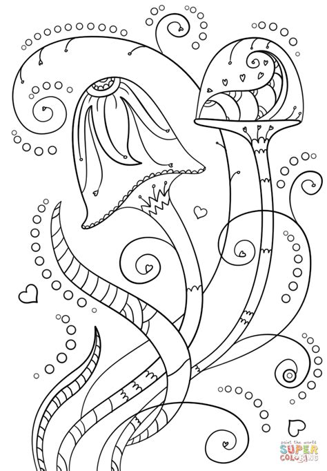 psychedelic mushrooms coloring page  printable
