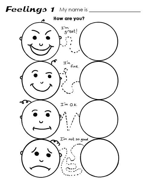 fichas de ingles ficha feelings  feelings worksheets