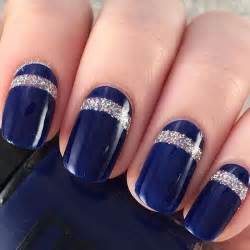 Navy blue and gold nail designs art