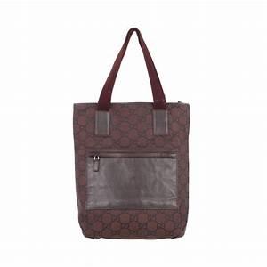 GUCCI Italian Brown GG MONOGRAM Canvas TOTE Handbag ...