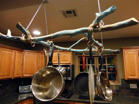pot hanging rack pan pans pots hanger kitchen hang ceiling diy hangers hooks wall kitchens storage theydesign uses iron they