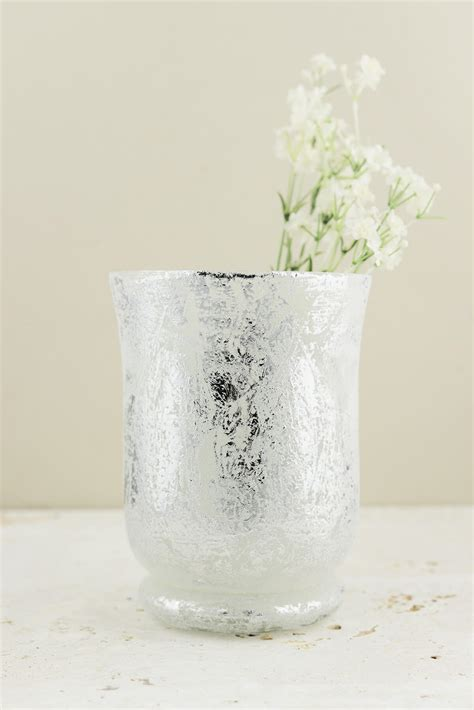 mercury glass hurricane vase frosted mercury glass hurricane vase candleholder 6 quot